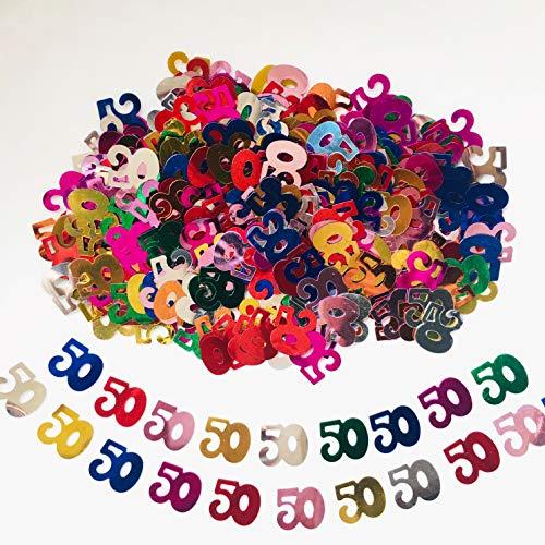 Birthday Confetti 50th (50 Confetti for Birthday or Wedding Anniversary Event Anniversary Party Decoration-1.5 oz (Multi-Color 50))