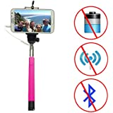 Looq DG 2_Looq®Third Generation Selfie Monopod, Patented Wired Extendable Selfie Pole for Android and iOS Smart Phones, Selfie Stick Needs No Battery, No Wifi, No Bluetooth, Save Phone Battery Power; Compatible with iPhone 6/ 6 Plus! Black_ Blue _ Green_ Pink (Pink)