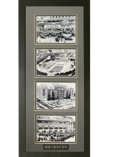 Historic Stadiums of Chicago. Professionally Matted and Framed (4) 5x7 B/w Photo's. Finished Size 11x27