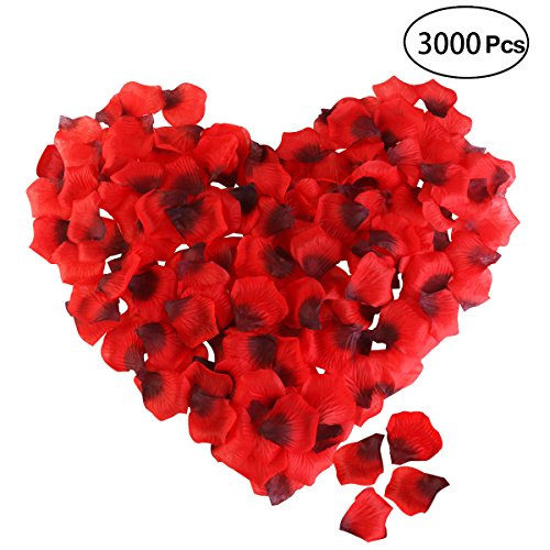 ETEREAUTY Rose Petals, 3000Pcs Artificial Flower Petals for Wedding Flower Decoration Romantic Night Party and Hotel Home Decoration, Dark Red by ETEREAUTY