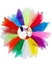 15 delar sensoriska halsdukar, XCOZU Jonglerande halsdukar baby dans halsdukar barn regnbåge lek siden chiffong fyrkanter sensorisk halsduk, färgade halsdukar dansrekvisita för barn 60 x 60 cm (15 färger)