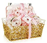 Spa Gift Basket - Refreshing Pomegranate Fragrance in Gold Gift Basket, Includes Shower Gel, Bubble Bath, Bath Bombs, Lotion and More! Great Mother's Day, Birthday, or Anniversary Gift Set for Women