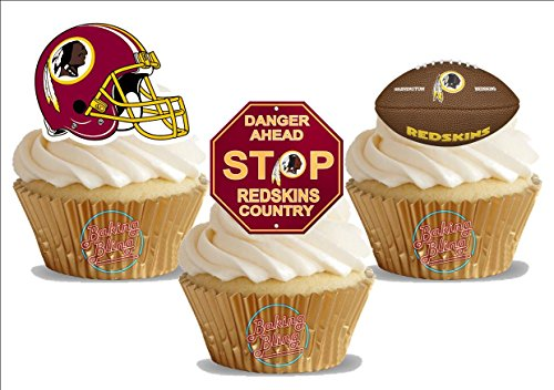 American Football Washington Redskins Trio Mix- Fun Novelty Birthday PREMIUM STAND UP Edible Wafer Card Cake Toppers Decoration ()