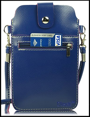 Universal Multifunctional PU Leather Mini Phone Bag Pouch with Shoulder Strap for iPhone 8 7 6 Plus/ 5S 4S, Galaxy S8 7 6 Edge/S5 4 3 HTC and Other Phone Under 5.5 inch (Blue) ()