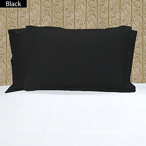 Singh's Textiles 100% Egyptian Cotton 2 PCs Oxford Pillow Sham, Standard/ Queen Size Black Solid 600 Thread Count (Stripe Oxford Pillowcase)