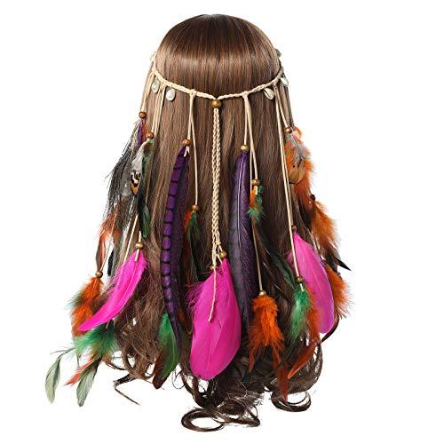Feather Headband Women Festival Headwear -AWAYTR Bohomia Feather Rope Crown Headdres For girls (Mixedcolor-1)