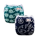 ALVABABY Swim Diapers 2pcs One Size Reuseable & Adjustable 0-24 mo. Baby Shower Gifts SW18-21-CA