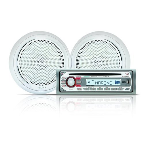 (Sony CDXM10 Marine CD Receiver Slot and XSMP1610W Pair Sony Marine 6.5-Inch Dual Cone Speakers)