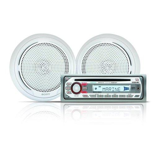 Sony CDXM10 Marine CD Receiver Slot and XSMP1610W Pair Sony