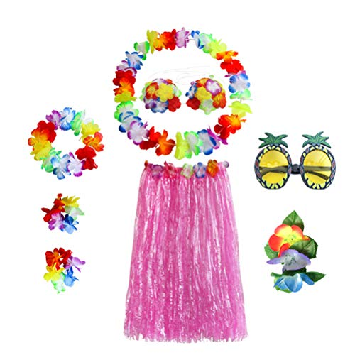 (Amosfun Hawaii Tropical Hula Grass Dance Skirt Bra Flower Bracelets Sunglasses Headband Necklace Set Tropical Party Decoration Hawaiian Party Costume)