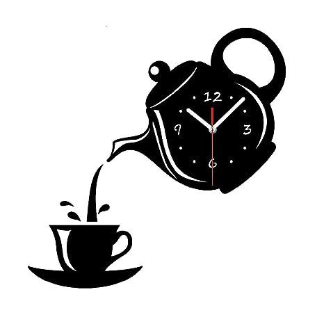 SODIAL Reloj de pared con Efecto espejo en Forma de la taza de cafe de Cocina