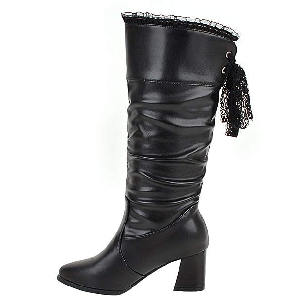 0b6a1953d8 AIYOUMEI Damen Halbstiefel mit Blockabsatz Halbschaft Stiefel High Heels  Boots: Amazon.de: Schuhe & Handtaschen