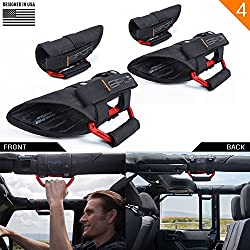 """GPCA GP-Grip PRO Grab Handle for Jeep Wrangler JL JT JK Sport Sahara Rubicon Gladiator 4DR/ 2DR 2007-2020 w/ 3"""" roll bar. Universal to Driver and passenger's Sides (4 Pack, Firecracker Red)"""