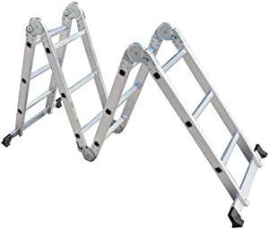 Folding Step Ladder Aluminum Multi - Use Heavy Duty Step Ladder 11.8FT/3.6M for Industrial Household Daily
