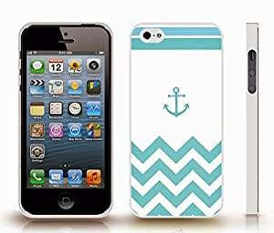 iStar Cases? iPhone 5/5S Case with Chevron Pattern Cyan/ Turquoise Stripe Turquoise Anchor , Snap-on Cover, Hard Carrying Case (White)