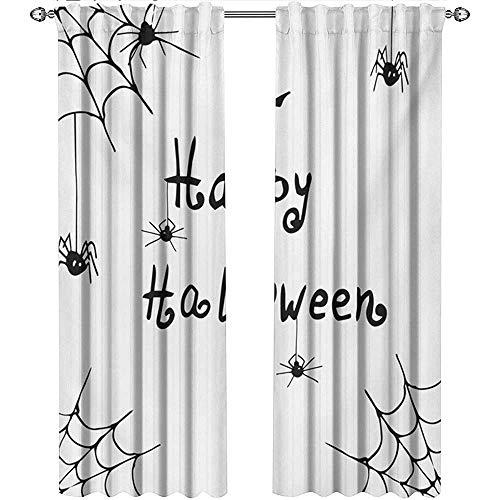shenglv Spider Web, Curtains Decoration, Happy Halloween Celebration Monochrome Hand Drawn Style Creepy Doodle Artwork, Curtains Kitchen Window Set, W96 x L108 Inch, Black White