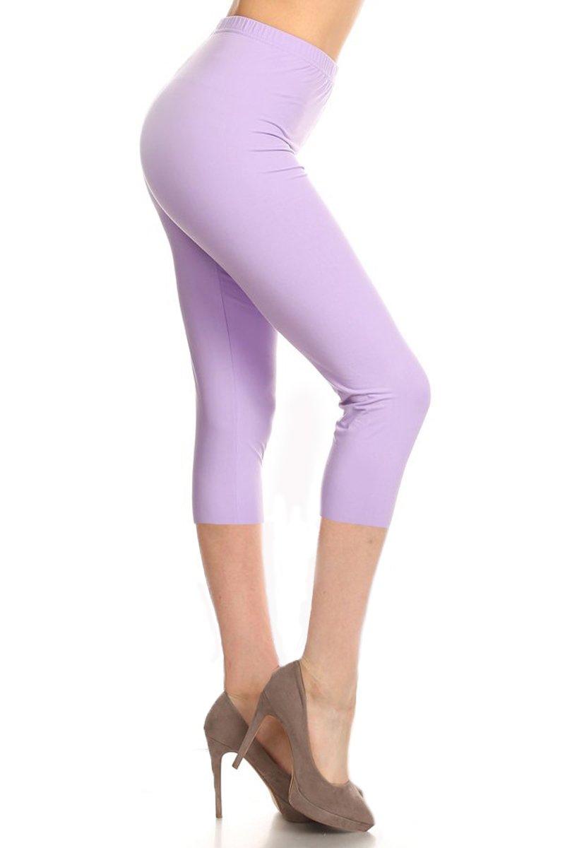 Leggings Depot Buttery Soft Basic Solid 36+ Colors Women's Capri Leggings (Plus Size (Size 12-24), Lilac)