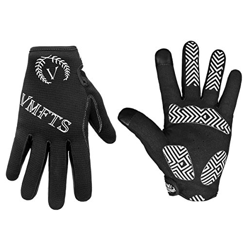 (VMFTS Cycling Gloves Full Finger Motorcycle Gloves Outdoor Winter Work Gloves Touch Screen Men Womans for Driving Camping Hiking Riding Biking Running Hunting Fishing Shooting,Black Large)