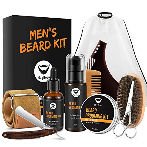 MayBeau Beard Grooming Kit for Men 10 in 1 - Best Beard Kit for Men Includes Straight Razor, Leather Strop, Beard Apron Bib, Shaping Tool, Brush, Oil, Comb, Balm, Wash, Scissors for Beard Care ()
