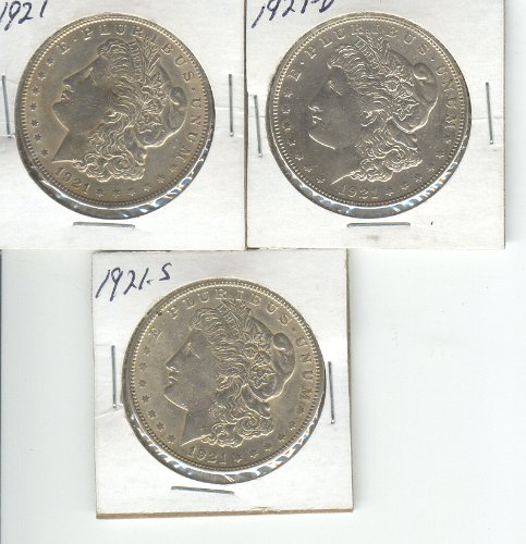 1921 Mint (MORGAN SILVER DOLLAR (3) 1921-P,1921-D,1921-S, ALL 3 MINTS FOR THAT YEAR)