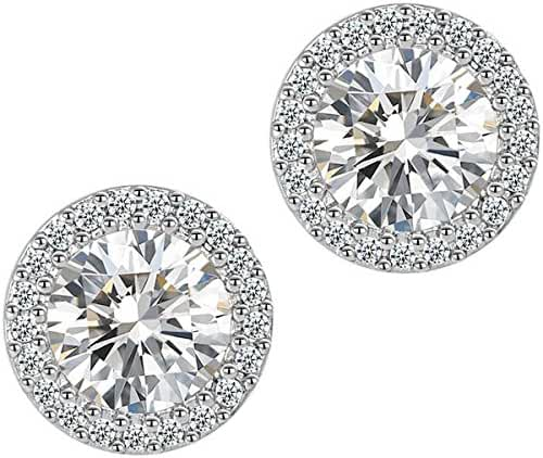 Fashion Jewelry 18k White Gold Plated Cubic Zirconia Halo Stud Earrings