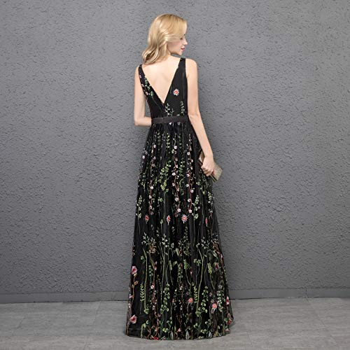 Formal Party Long YPM458 Prom Evening Dress Backless 3D neck Gown Flower Black v Womens YSMei Long Tq5wX8P