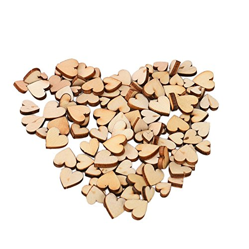 Elevin(TM)  100pcs Rustic Wood Wooden Love Heart