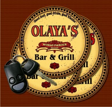 OLAYA'S World Famous Bar & Grill Coasters - Set of 4 from J Edgar Cool
