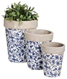 Esschert Design USA Aged Ceramic Round Nested Flowerpots, Set of 3