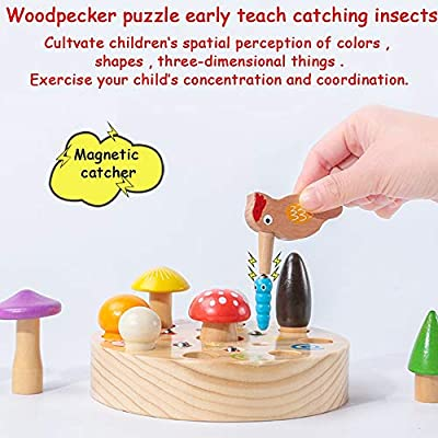 BLLKE Wooden Toys, Mushroom Catching Game Early Education Puzzle for 3 Year Old Boys & Girls Montessori Toddler Game Newborn Gifts: Toys & Games