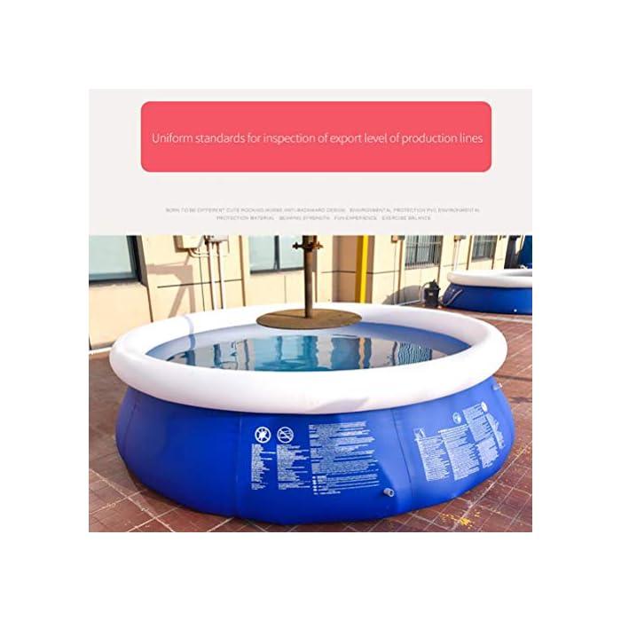 51PFb2qqcCL Fácil de instalar: nuestra piscina es fácil de instalar, y llene la piscina inflable con agua unos diez minutos. Diferentes capacidades: las piscinas de diferentes tamaños pueden contener diferentes números de personas, 6 pies x 29 pulgadas pueden contener 2 niños; 8 pies x 30 pulgadas pueden contener 3 niños; 10 pies x 30 pulgadas pueden contener 4 ~ 5 niños; 12 pies x 30 pulgadas pueden contener 5 ~ 6 niños. Por favor elige el tamaño que necesitas. Duradero: nuestras piscinas exteriores están hechas de una capa intermedia de PVC de protección ambiental de alta calidad, protección ambiental e inofensiva. Puede disfrutar de la piscina con su familia en el terreno plano del patio trasero.