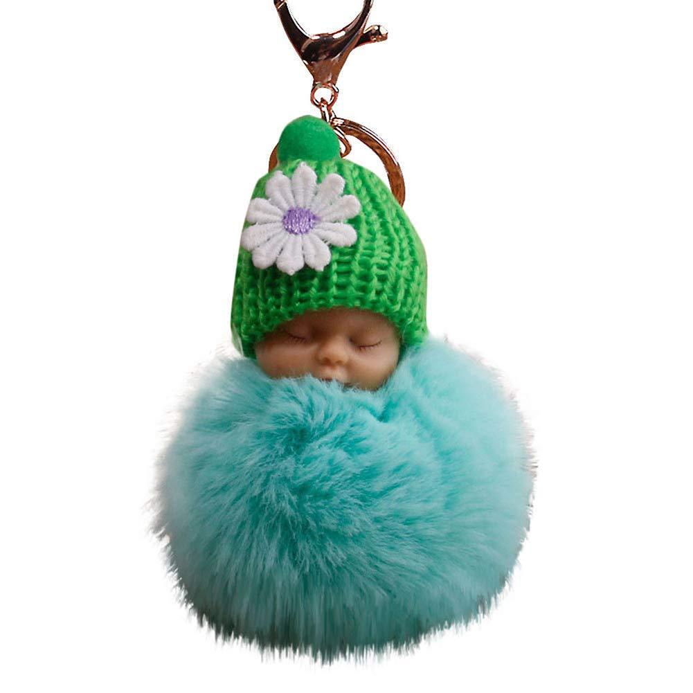1Pc Plush Pompom Sleeping Baby Doll Key Chain Key Ring Holder Bag Pendant Decor