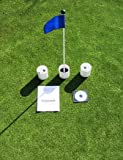 Practice Putting Green – Natural or Synthetic – Accessory Kit – (3) 4″ Plastic Cups and Blue Marker Flag, Outdoor Stuffs