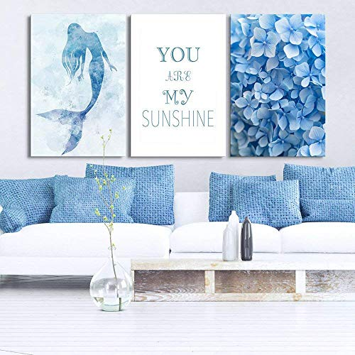 Triptych Blue Theme Watercolor Art: Mermaid Floral Quote x 3 Panels