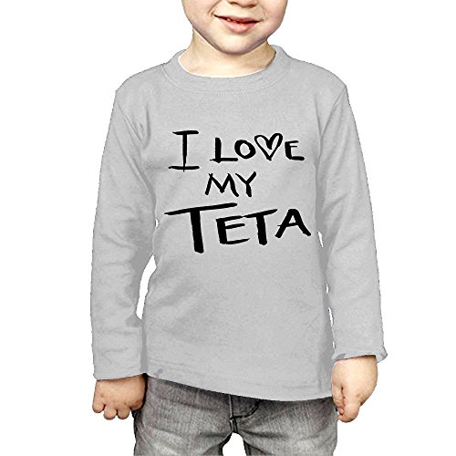 ZheuO Boys & Girls Infant I Love My TETA Soft 100% Cotton Tee Unisex Gray 3 Toddler
