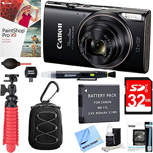 (Canon PowerShot ELPH 360 HS Digital Camera (Black) + 32GB Deluxe Accessory Bundle)