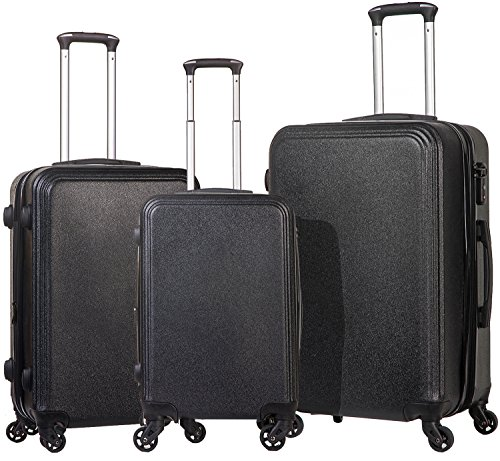 Merax Luggage 3 Piece Set Expandable Spinner with TSA Lock Suitcase PC+ABS with 4 Wheels (Black)