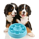 GOGOKING Dog Bowl Fun Anti-Choke Bowl Pet bowl Healthy Food Bowl Slow Feeder Dog Bowl Christmas Gifts (Love blue)