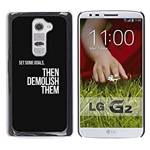 Impact Case Cover with Art Pattern Designs FOR LG G2 Goals Motivations Insignia Text Black Betty shop