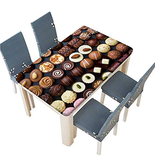 - PINAFORE Decorative Tablecloth top View of Variety Chocolate pralines Assorted Size W25.5 x L65 INCH (Elastic Edge)
