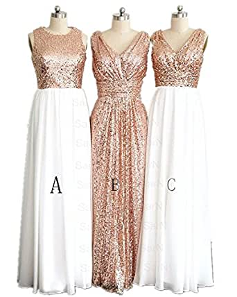 LuckyHouses Women's Rose Gold Sequins Bridesmaid Party