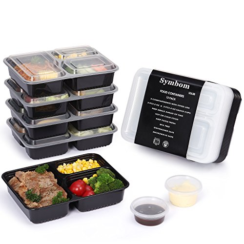 12 pack symbom 3 compartment meal prep containers with lids bpa free portion control bento. Black Bedroom Furniture Sets. Home Design Ideas