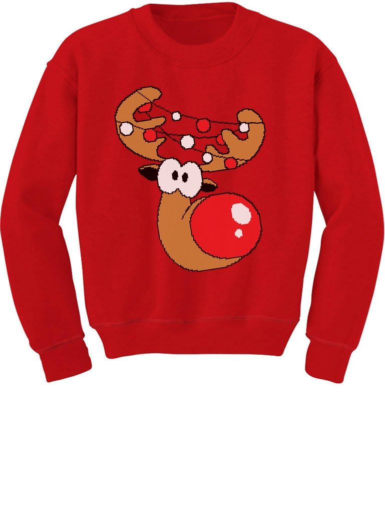 TeeStars Funny Reindeer Face Ugly Christmas Toddler Kids Boys Sweatshirts GhPh3rtgf5