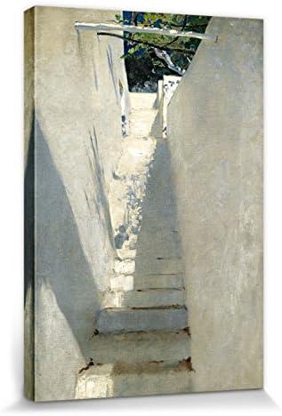 1art1 John Singer Sargent - Escalera En Capri, 1878 Cuadro, Lienzo Montado sobre Bastidor (30 x 20cm): Amazon.es: Hogar