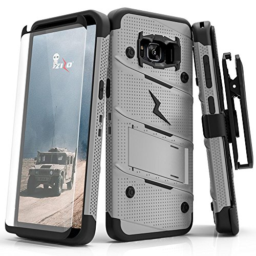 ZIZO Bolt Series Samsung Galaxy S8 Case Military Grade Drop Tested with Tempered Glass Screen Protector, Holster Gray Black