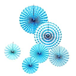 TtoyouU Bright Color Decorative Tissue Paper Hanging Fans,Wedding Party Home Decor,Set of 12 (Blue)