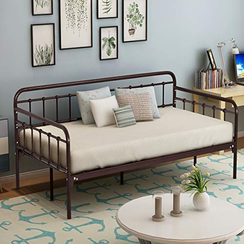 HOMERECOMMEND Metal Daybed Frame Twin Steel Slats Platform Base Box Spring Replacement Children Bed Sofa for Living Room Guest Room (Twin, Dark Copper)