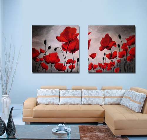 Set Poppy Print Framed - Spirit Up Art Huge Canvas Print Wall Art Red Poppy Flowers Pictures Modern Home Decoration Painting set of 2 Each is 50*50cm, Stretched and Framed, Ready to Hang #cy-743