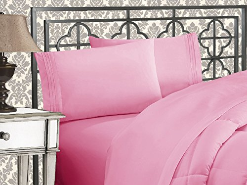 Elegant Comfort Luxurious & Softest 1500 Thread Count Egyptian Three Line Embroidered Softest Premium Hotel Quality 4-Piece Bed Sheet Set, Wrinkle and Fade Resistant, Full, Light Pink (Pink Sheet Set Full)