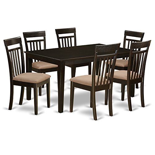 East West Furniture CAP7S-CAP-C and 6 Chairs Dining Table, Microfiber Upholstered Seat, Cappuccino Finish